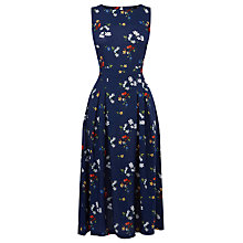 Buy Warehouse Spaced Floral Open Back Dress, Blue Pattern Online at johnlewis.com