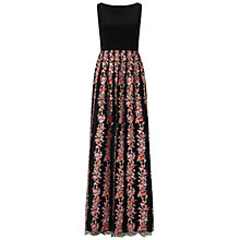 Buy Adrianna Papell Jersey And Embroidered Mesh Gown, Black/Multi Online at johnlewis.com