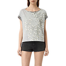 Buy AllSaints Farrow Pina T-Shirt, Chalk White Online at johnlewis.com