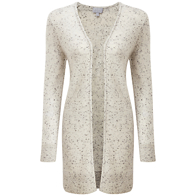 Pure Collection Haley Rib Cashmere Cardigan, Heather Grey Fleck