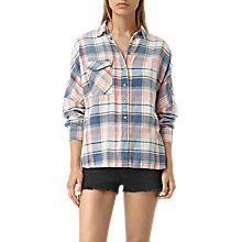 Buy AllSaints Bella Oversize Shirt, Indigo Check Online at johnlewis.com