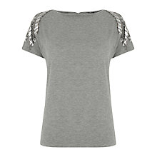 Buy Warehouse Floral Chevron Embellished T-Shirt, Light Grey Online at johnlewis.com