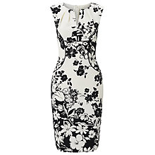 Buy Adrianna Papell Printed Pleated Sheath Dress, Black/Ivory Online at johnlewis.com