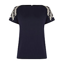 Buy Warehouse Floral Chevron Embellished T-Shirt, Navy Online at johnlewis.com
