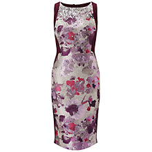 Buy Adrianna Papell Jacquard Jersey Sheath Dress, Purple/Multi Online at johnlewis.com