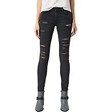 Buy AllSaints Mast Slash Jeans, Washed Black Online at johnlewis.com