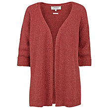 Buy Fat Face Haywood Textured Edge To Edge Cardigan, Burnt Red Online at johnlewis.com