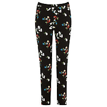 Buy Warehouse Spaced Floral Slim Trousers, Black Online at johnlewis.com