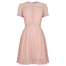 Buy Warehouse Mixed Lace Prom Dress, Light Pink Online at johnlewis.com