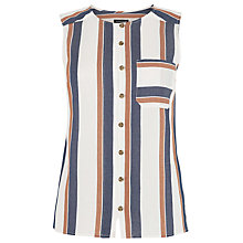 Buy Warehouse Sleeveless Shirt, Neutral Stripe Online at johnlewis.com