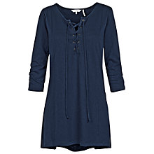 Buy Fat Face Lace Up Longline Top, Navy Online at johnlewis.com