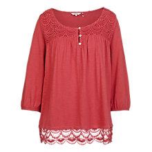 Buy Fat Face Otley Lace Top, Burnt Red Online at johnlewis.com
