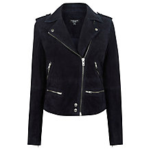 Buy Warehouse Suede Biker Jacket, Navy Online at johnlewis.com