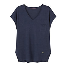 Buy Violeta by Mango Pocket Linen-Blend T-Shirt, Navy Online at johnlewis.com