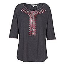 Buy Fat Face Crantock Embroidered Three-Quarter Sleeve Top Online at johnlewis.com