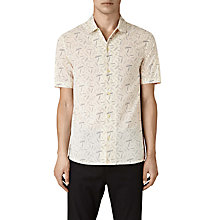Buy AllSaints Axiom Geometric Line Short Sleeve Shirt, Ecru White Online at johnlewis.com