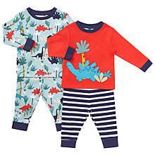 Buy John Lewis Baby Dinosaur Print Pyjamas, Pack of 2, Red/Multi Online at johnlewis.com