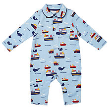 Buy John Lewis Baby Boat Print Romper Pyjamas, Blue Online at johnlewis.com