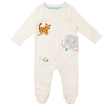 Buy John Lewis Baby Elephant And Friends Sleepsuit, White Online at johnlewis.com