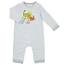 Buy John Lewis Baby Leopard Mummy Romper Playsuit, White Online at johnlewis.com