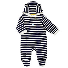 Buy John Lewis Baby Striped Wadded Pramsuit, Blue/White Online at johnlewis.com