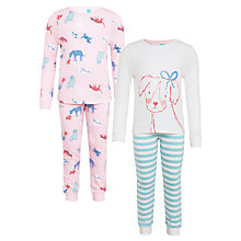 Buy John Lewis Children's Dog Friends Pyjamas, Pack of 2, Pink Online at johnlewis.com