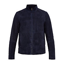 Buy Ted Baker Gregg Suede Bomber Jacket, Navy Online at johnlewis.com