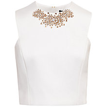 Buy Ted Baker Embellished Cap Sleeve Top, White Online at johnlewis.com