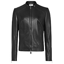 Buy Reiss Erika Leather Jacket, Black Online at johnlewis.com