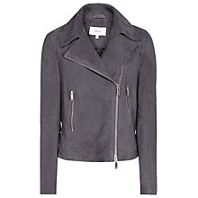 Buy Reiss Bryony Suede Biker Jacket, Marine Online at johnlewis.com