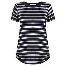 Buy Oasis Double Stripe Perfect T-Shirt, Navy Online at johnlewis.com