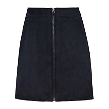 Buy Reiss Felicity Suede A-line Skirt, Night Navy Online at johnlewis.com