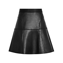 Buy Reiss Leather A-Line Skirt, Black Online at johnlewis.com
