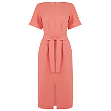 Buy Warehouse Linen Mix Belted Dress, Coral Online at johnlewis.com