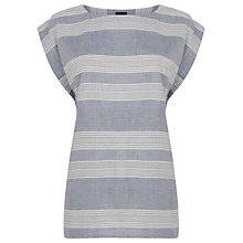 Buy Warehouse Textured T-Shirt, Blue Stripe Online at johnlewis.com