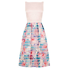 Buy Oasis Digital Organza Midi Dress, Multi/Green Online at johnlewis.com
