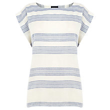 Buy Warehouse Stripe Texture T-Shirt, Neutral Online at johnlewis.com