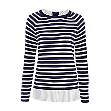 Buy Joie Zaan E Layered Stripe Jumper, Dark Navy/Cream Online at johnlewis.com