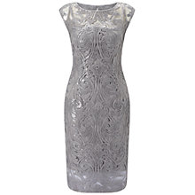 Buy Adrianna Papell Extended Shoulder Sequin Lace Sheath Dress, Silver Online at johnlewis.com