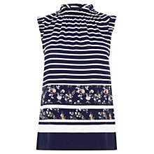 Buy Oasis Stripe and Print High Neck Top, Multi Online at johnlewis.com