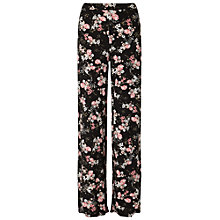 Buy Miss Selfridge Floral Wide Leg Tousers, Black Online at johnlewis.com