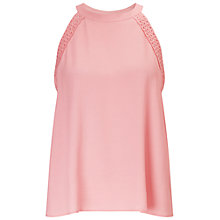 Buy Miss Selfridge Lace Shell Top, Pink Online at johnlewis.com