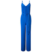 Buy Miss Selfridge Button Front Jumpsuit, Blue Online at johnlewis.com