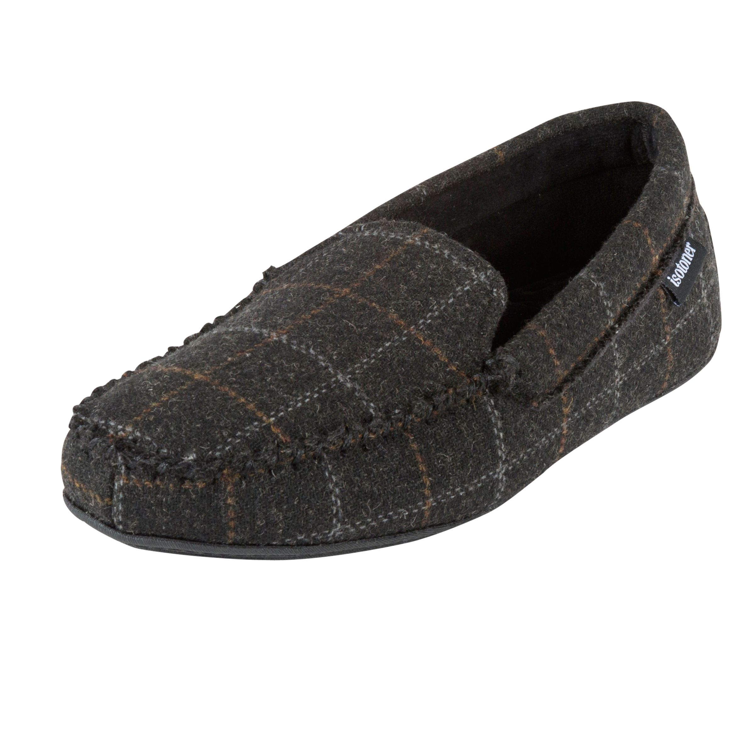 Totes Totes Woven Check Moccasin Slippers, Charcoal