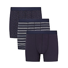 Buy John Lewis Dot Plain Stripe Trunks, Pack of 3, Navy Online at johnlewis.com