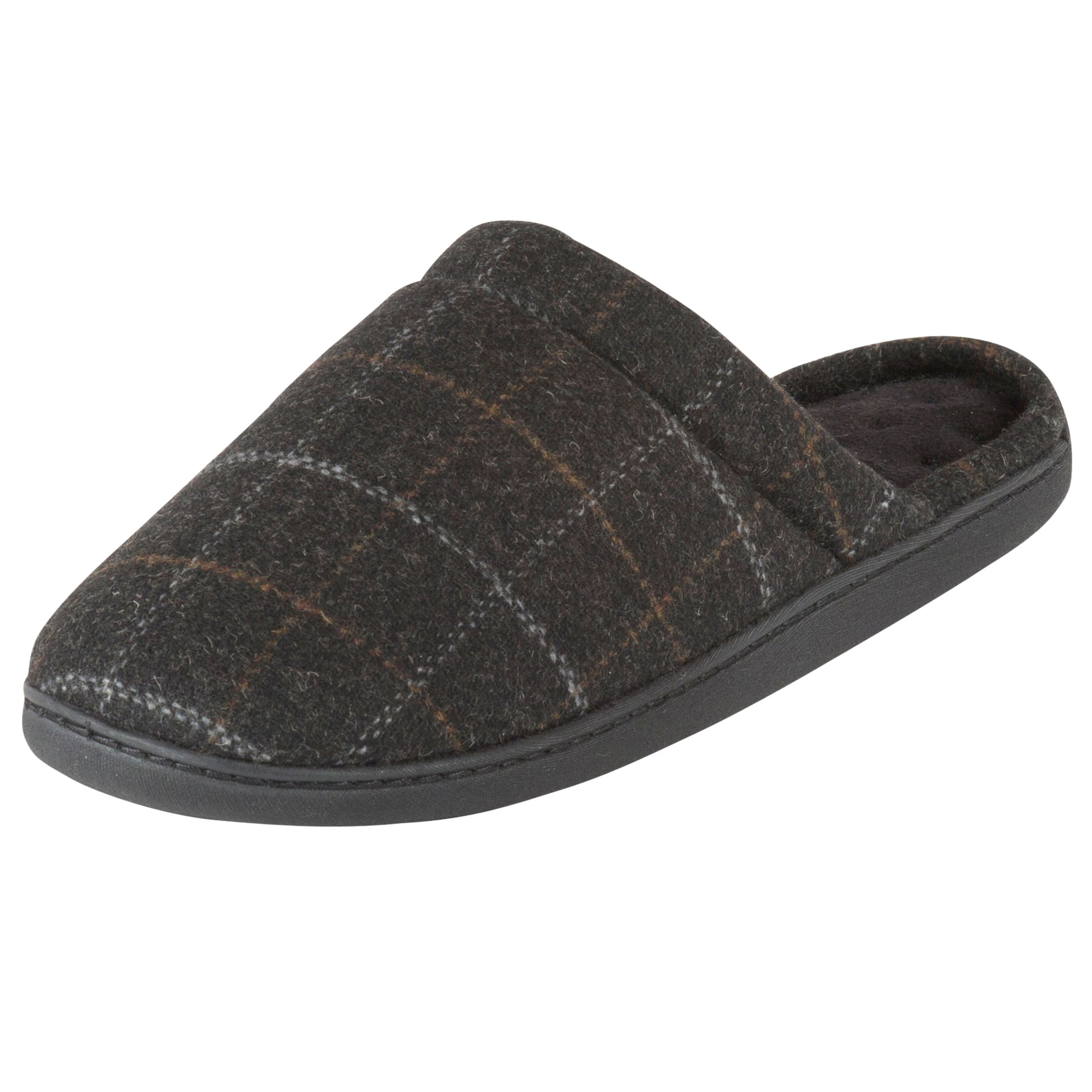 Totes Totes Woven Checked Mule Slippers, Charcoal