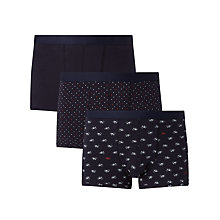 Buy John Lewis Bike Print Trunks, Pack of 3, Navy Online at johnlewis.com