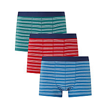 Buy John Lewis Fine Stripe Trunks, Pack of 3, Green/Red/Blue Online at johnlewis.com