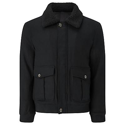 Image of JOHN LEWIS & Co. Shearling Wool Bomber Jacket, Black