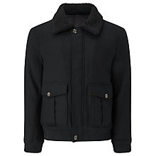 Buy JOHN LEWIS & Co. Shearling Wool Bomber Jacket, Black Online at johnlewis.com